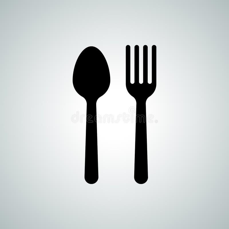 Icono plano de la silueta de los cubiertos del vector de la bifurcación de la cuchara stock de ilustración