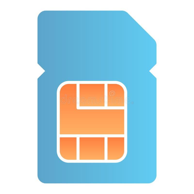 Icono plano de la tarjeta de SIM. Iconos de color de chips para portátiles en un estilo moderno y plano. Diseño de estilo de gra foto de archivo libre de regalías