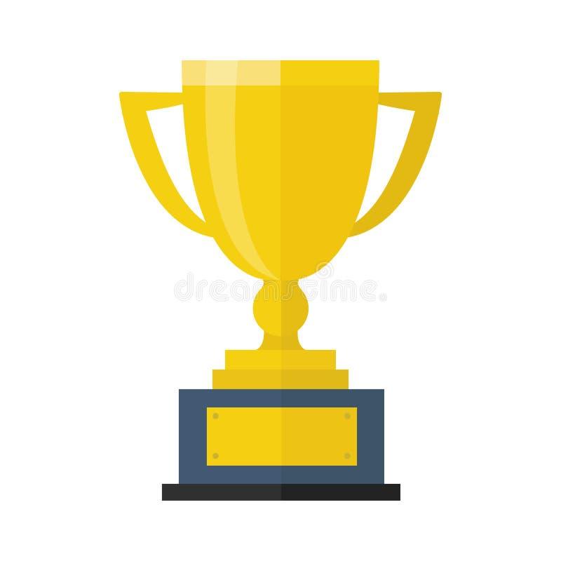 Icono plano de la taza del trofeo, estilo plano del diseño del illustion del vector imágenes de archivo libres de regalías