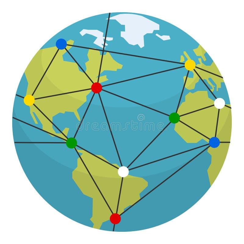 Icono plano de la tierra, de la globalización y de las conexiones stock de ilustración