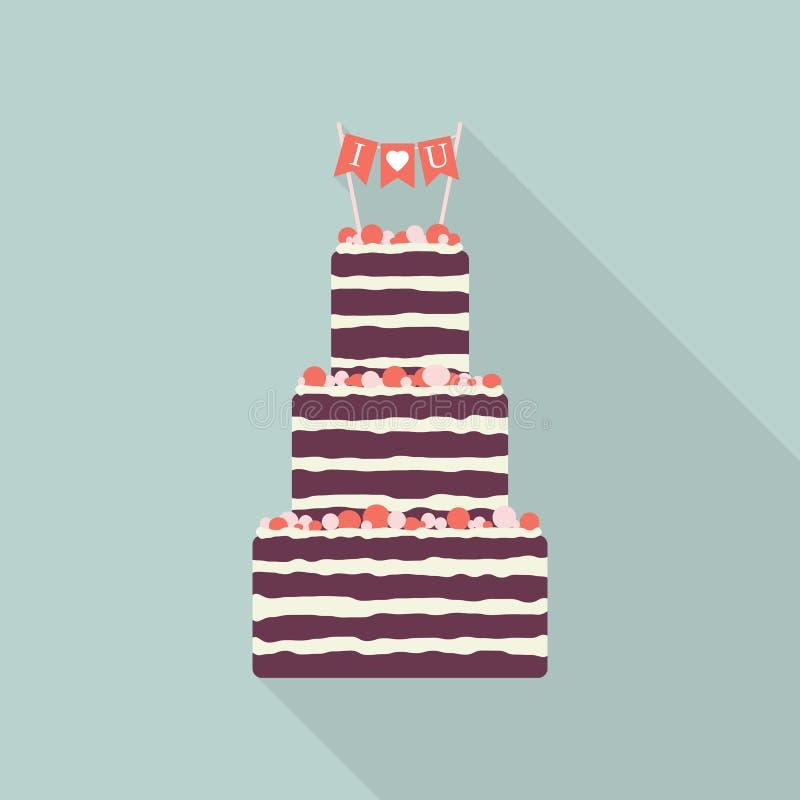 Icono plano de la torta con la sombra larga Abra la empanada stock de ilustración