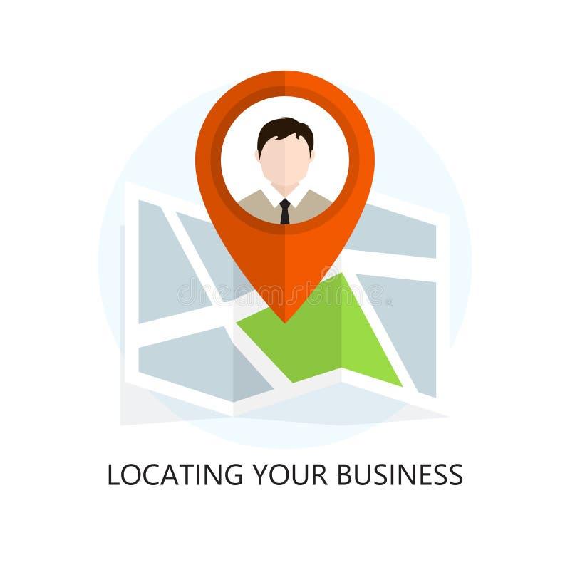 Icono plano de la ubicación Localización de su negocio stock de ilustración