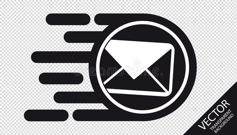 Icono plano de la velocidad - concepto rápido de la entrega del correo electrónico - ejemplo del vector - aislado en fondo transp libre illustration