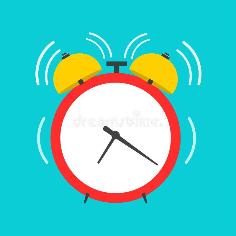 Icono plano de la vista delantera del vector del despertador Recordatorio redondo rojo retro del tiempo de trabajo fotografía de archivo libre de regalías