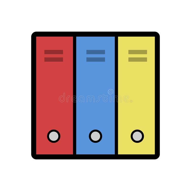 Icono plano de las carpetas Usando tres colores ilustración del vector