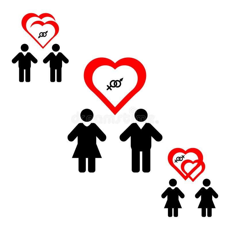 Icono plano de las parejas del mismo sexo Firme los mismos pares del sexo Matrimonio homosexual, boda lesbiana Aislado en el fond libre illustration