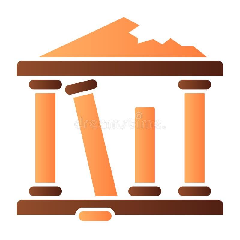 Icono plano de las ruinas antiguas Las ruinas griegas colorean iconos en estilo plano de moda Diseño del estilo de la pendiente  libre illustration