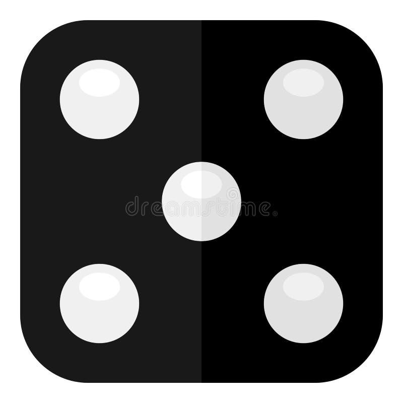 Icono plano de los dados negros aislado en blanco stock de ilustración
