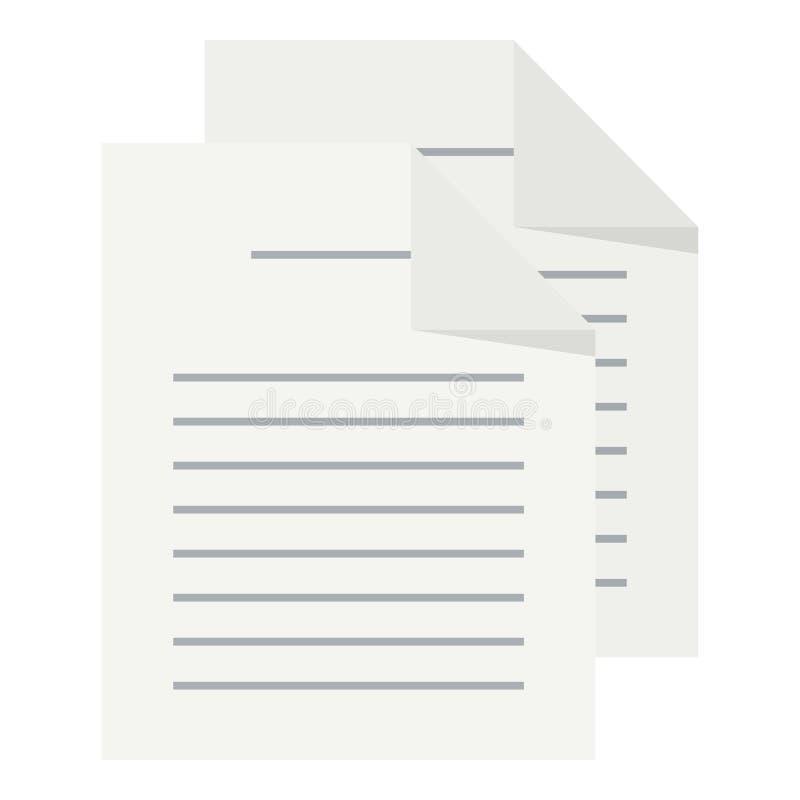 Icono plano de los documentos aislado en blanco libre illustration