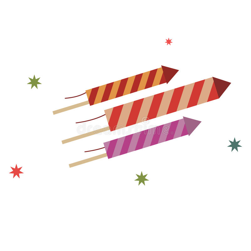 Icono plano de los fuegos artificiales ilustración del vector