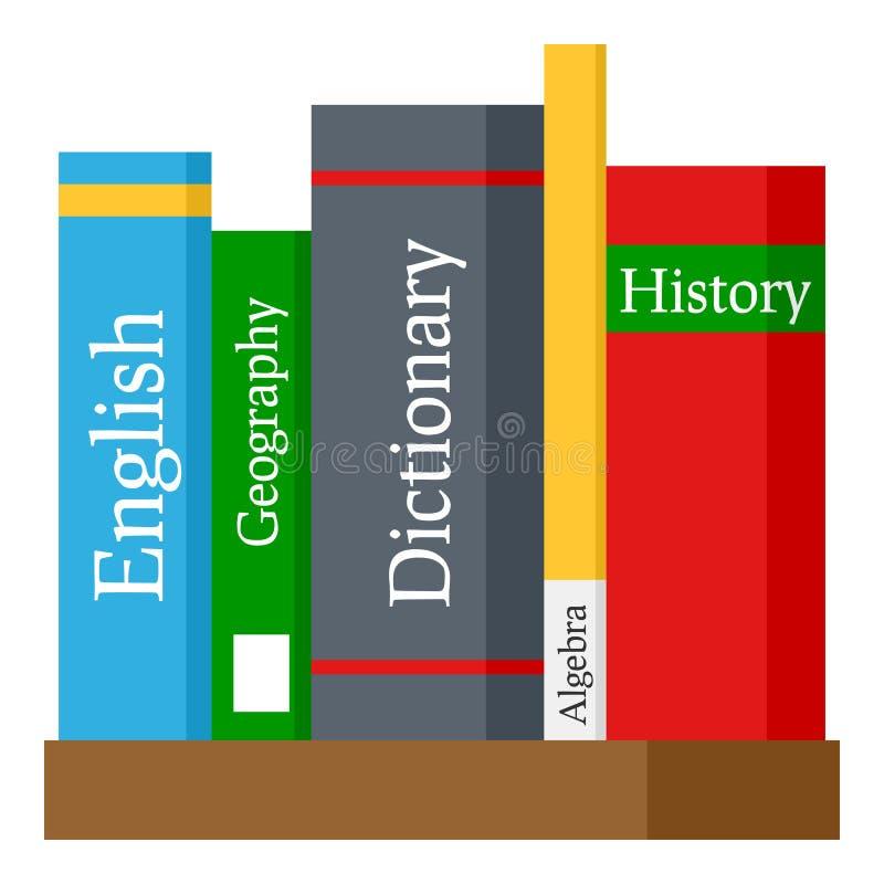 Icono plano de los libros de escuela aislado en blanco libre illustration