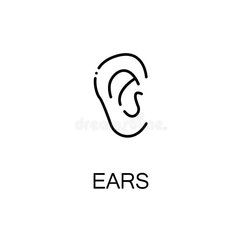Icono plano de los oídos stock de ilustración