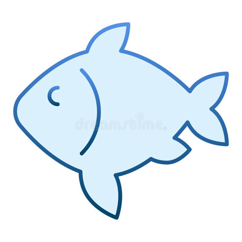 Icono plano de los pescados de la carpa Iconos azules de la comida en estilo plano de moda Diseño del estilo de la pendiente de l stock de ilustración