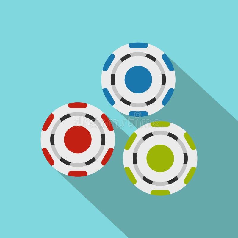 Icono plano de los símbolos rojos, azules y verdes del casino stock de ilustración
