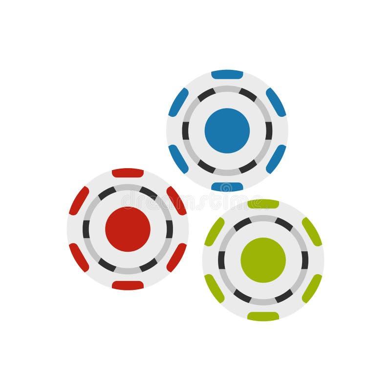 Icono plano de los símbolos rojos, azules y verdes del casino libre illustration