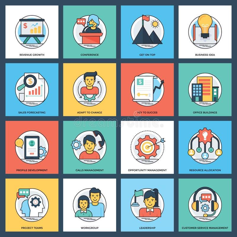 Icono plano de los vectores del negocio ilustración del vector