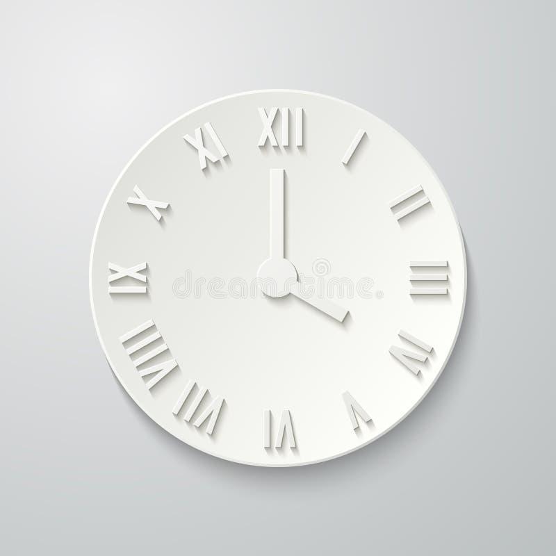 Icono plano de papel del reloj con la sombra ilustración del vector
