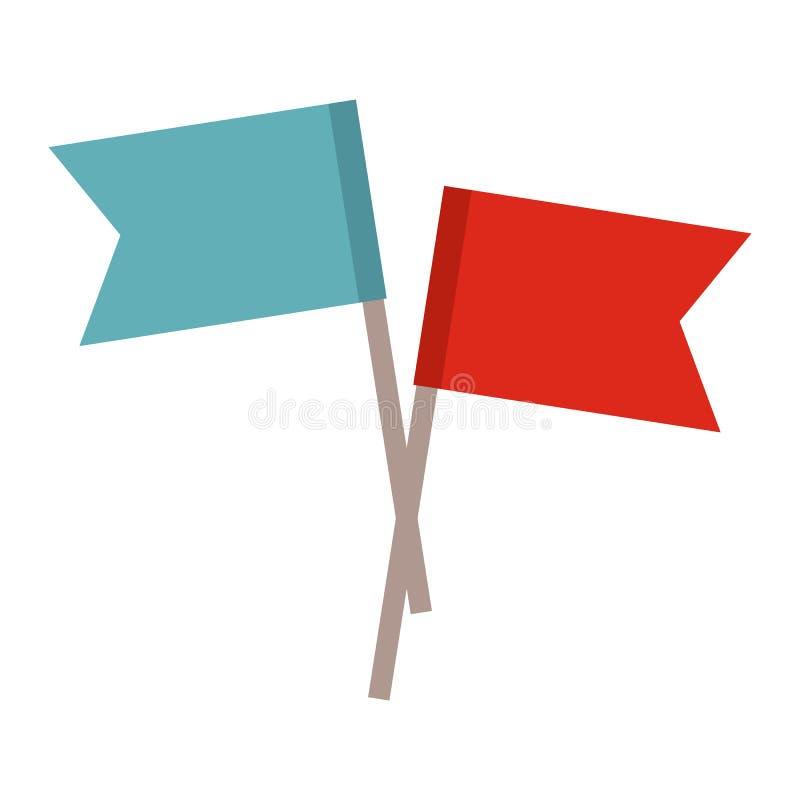 icono plano de 2 pequeñas banderas ilustración del vector