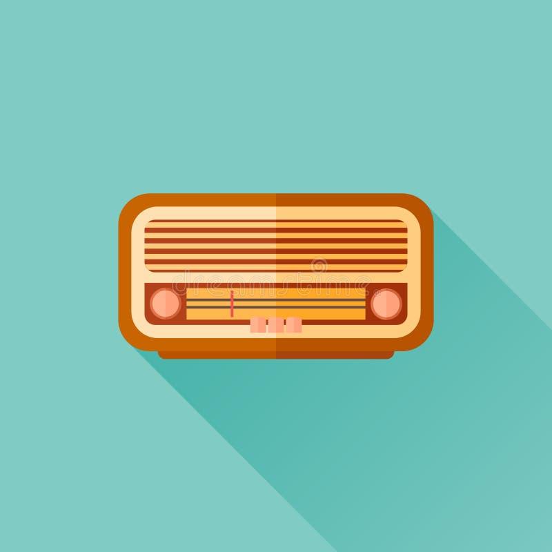 Icono plano de radio retro con la sombra larga libre illustration
