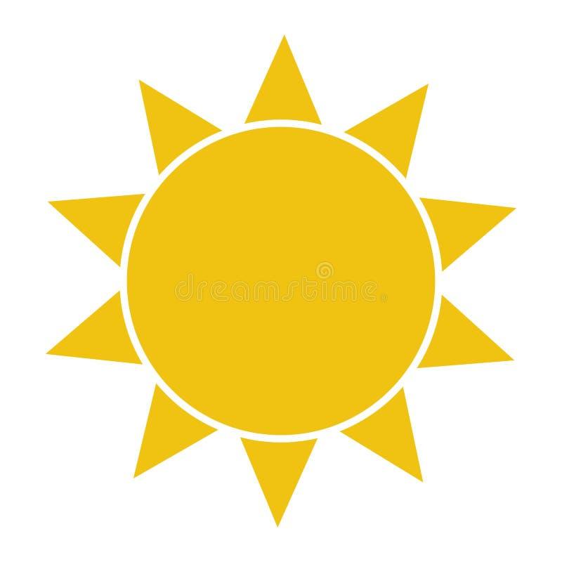 Icono plano de Sun Pictograma de Sun ejemplo del vector de la plantilla stock de ilustración