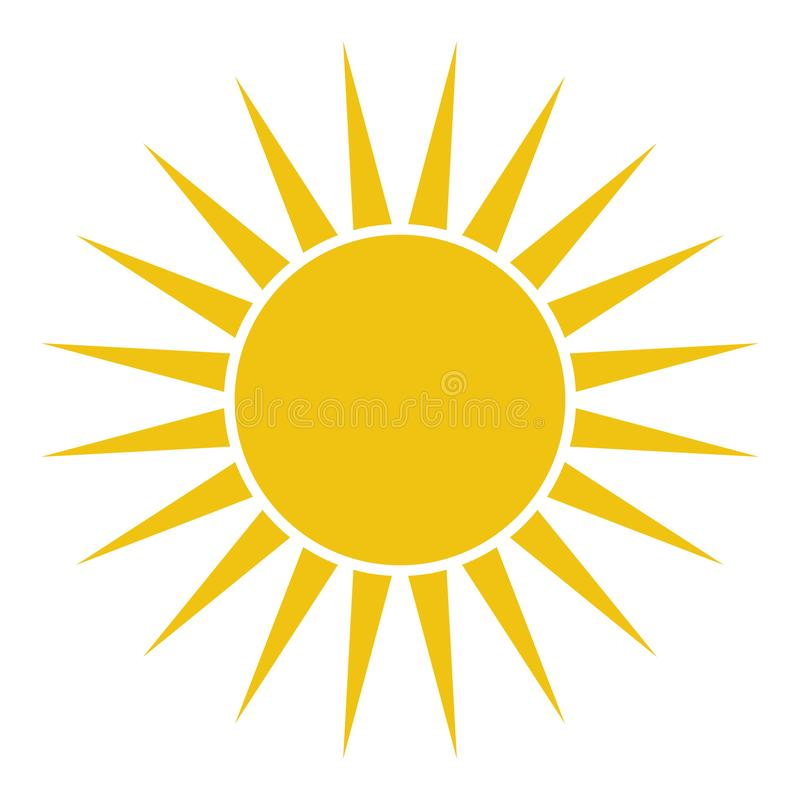 Icono plano de Sun Pictograma de Sun ejemplo del vector de la plantilla ilustración del vector