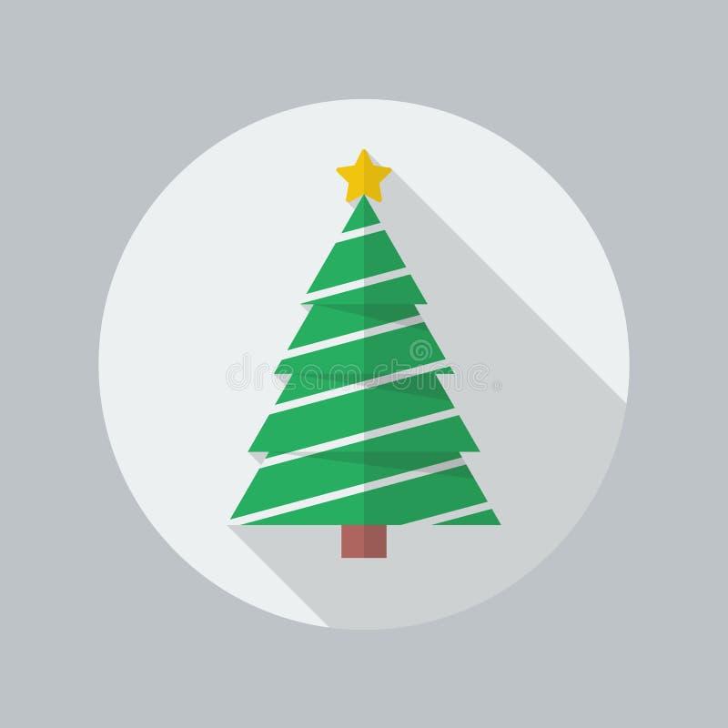 Icono plano del árbol de navidad ilustración del vector