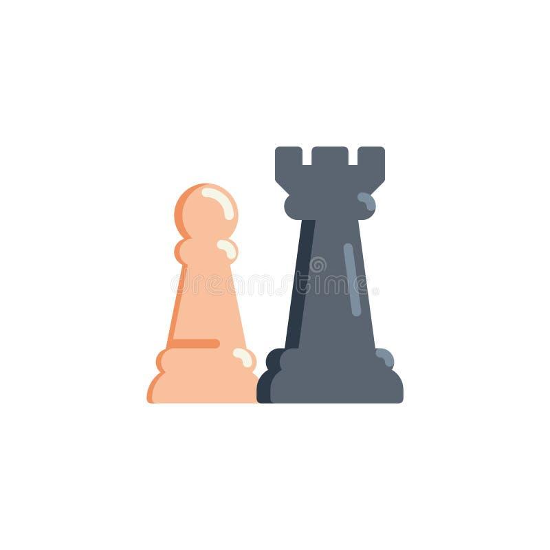 Icono plano del ajedrez del grajo y del empeño stock de ilustración