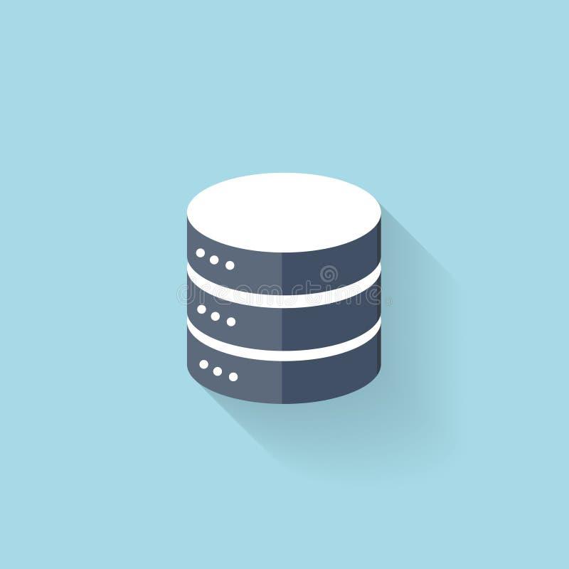 Icono plano del almacenamiento de datos para la web stock de ilustración