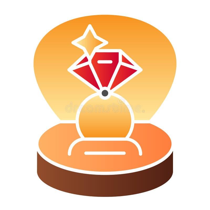 Icono plano del anillo de compromiso Anillo en iconos de regalo de un color de la caja en estilo plano de moda Diseño del estilo  libre illustration