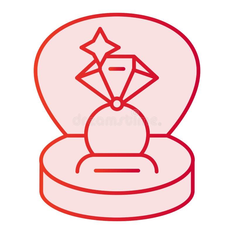 Icono plano del anillo de compromiso Anillo en iconos de regalo de un rosa de la caja en estilo plano de moda Diseño del estilo d stock de ilustración