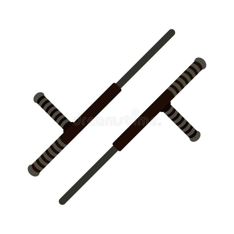 Icono plano del arma de Tonfa imagen de archivo
