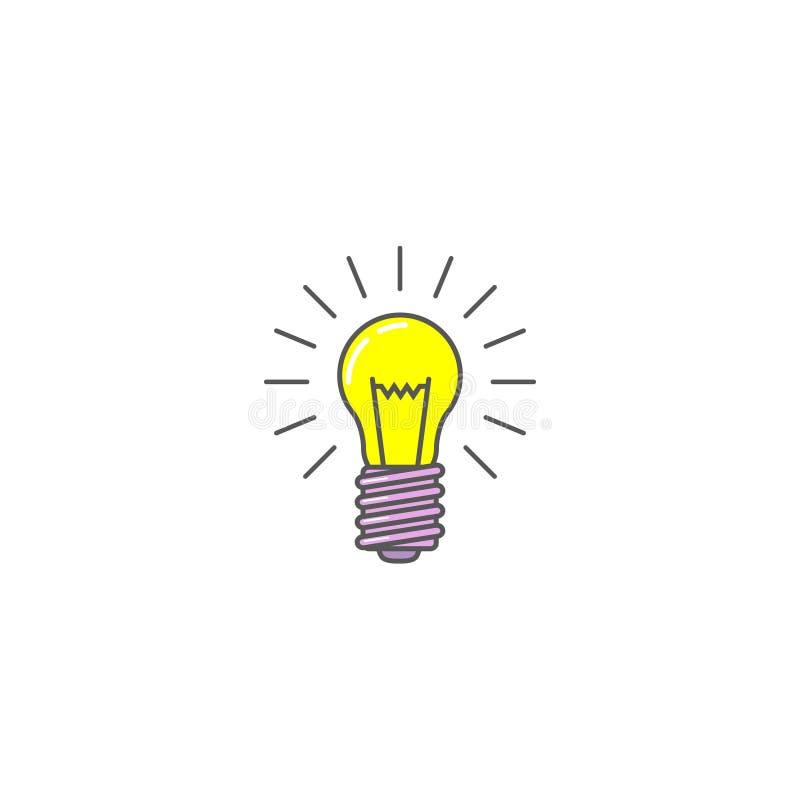 Icono plano del arte del vector simple de una bombilla ardiente stock de ilustración