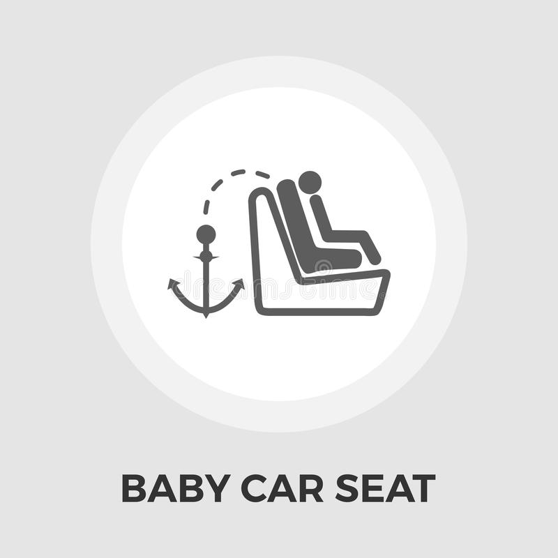 Icono plano del asiento de carro del niño libre illustration