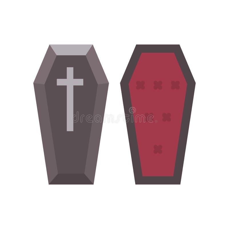 Icono plano del ataúd del vampiro Ejemplo de Halloween del ataúd stock de ilustración