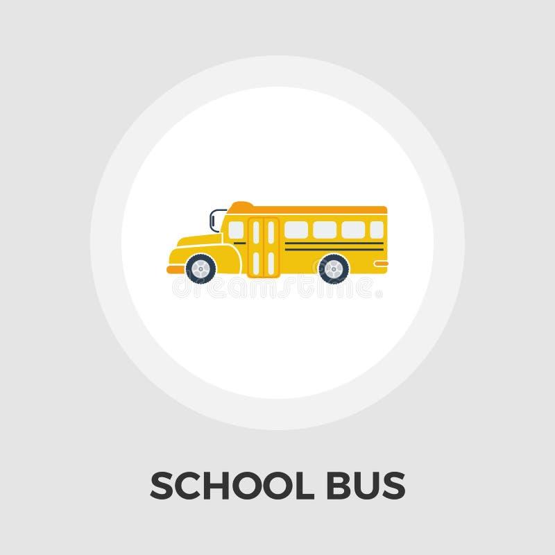 Icono plano del autobús escolar stock de ilustración