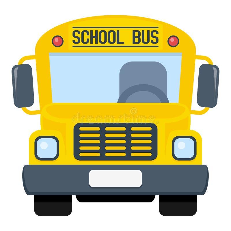 Icono plano del autobús escolar aislado en blanco stock de ilustración