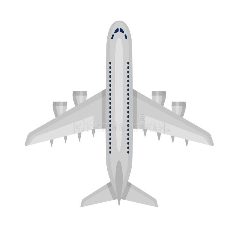 Icono plano del avión de pasajeros del aeroplano aislado en el fondo blanco Estilo plano ilustración del vector