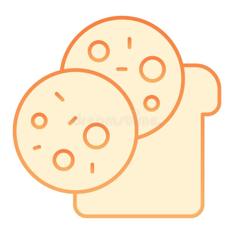 Icono plano del bocadillo Iconos anaranjados del bocado en estilo plano de moda Diseño del estilo de la pendiente del pan y de la ilustración del vector