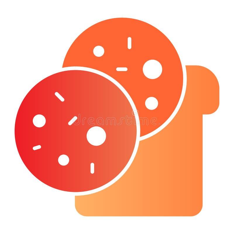 Icono plano del bocadillo Iconos del color del bocado en estilo plano de moda Diseño del estilo de la pendiente del pan y de la s ilustración del vector