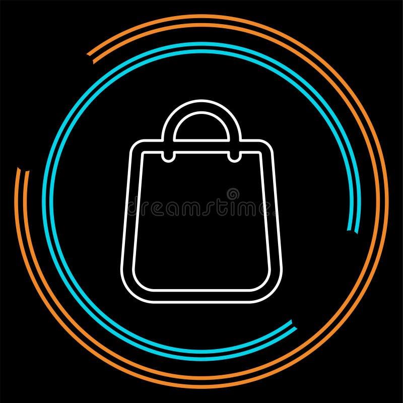Icono plano del bolso - bolso de compras del vector stock de ilustración