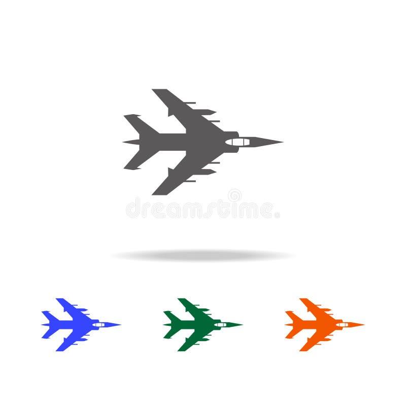Icono plano del bombardeo Elementos de aviones militares en los iconos coloreados multi para los apps móviles del concepto y del  stock de ilustración