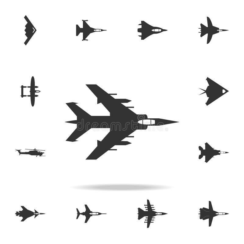 Icono plano del bombardeo Sistema detallado de iconos del avión del ejército Diseño gráfico superior Uno de los iconos de la cole stock de ilustración
