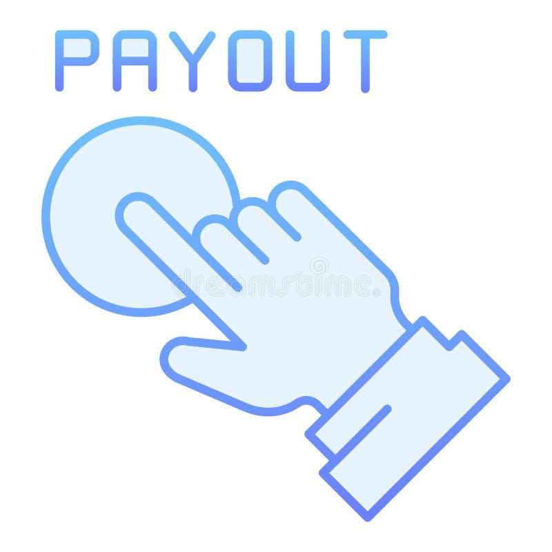 Icono plano del botón del desembolso Iconos azules de la mano y del botón de la paga en estilo plano de moda Diseño del estilo de libre illustration