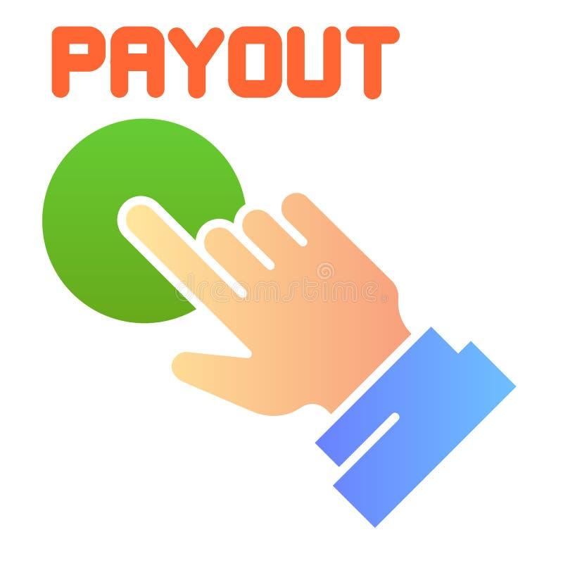 Icono plano del botón del desembolso Iconos del color de la mano y del botón de la paga en estilo plano de moda Diseño del estilo stock de ilustración