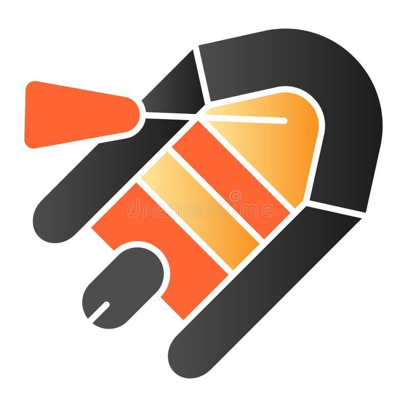 Icono plano del bote y de la paleta Iconos inflables del color del barco en estilo plano de moda Diseño de goma del estilo de la  stock de ilustración