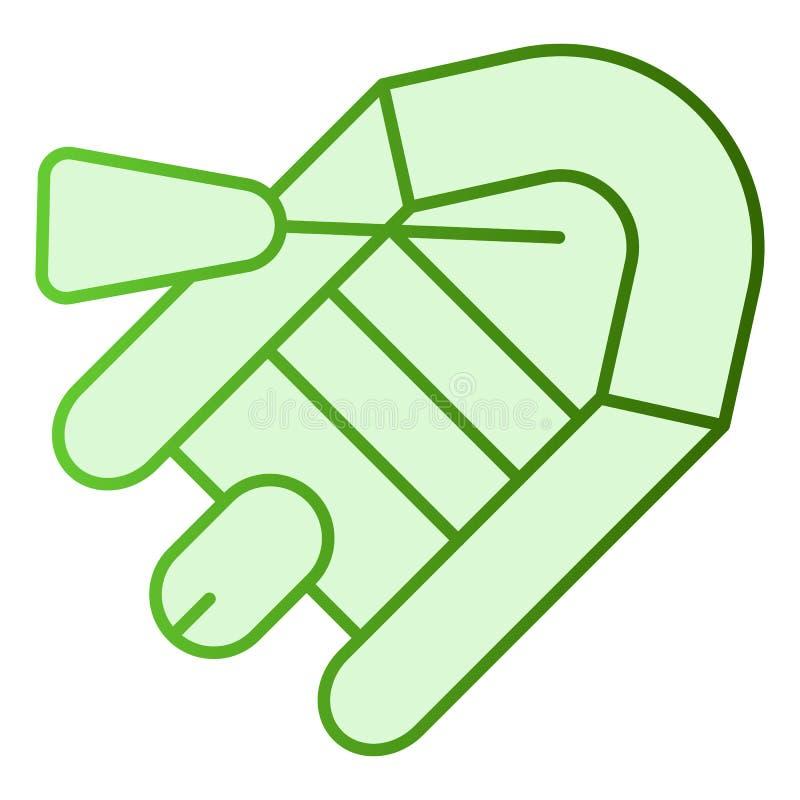 Icono plano del bote y de la paleta Iconos inflables del verde del barco en estilo plano de moda Diseño de goma del estilo de la  libre illustration