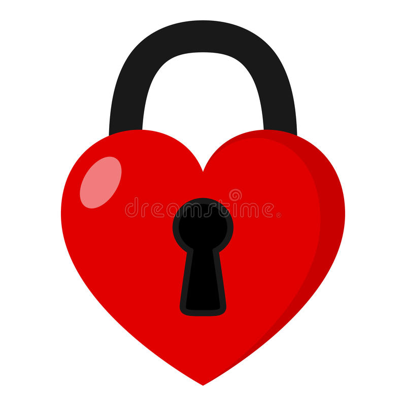 Icono plano del candado del corazón aislado en blanco stock de ilustración
