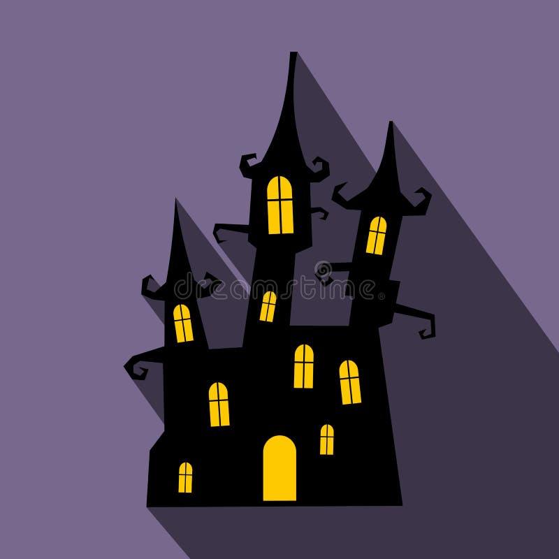 Icono plano del castillo ideal con la sombra ilustración del vector