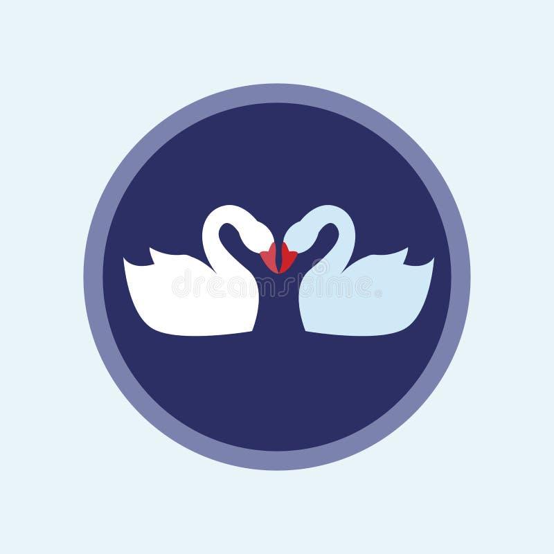 Icono plano del cisne del amante Ilustración del vector ilustración del vector