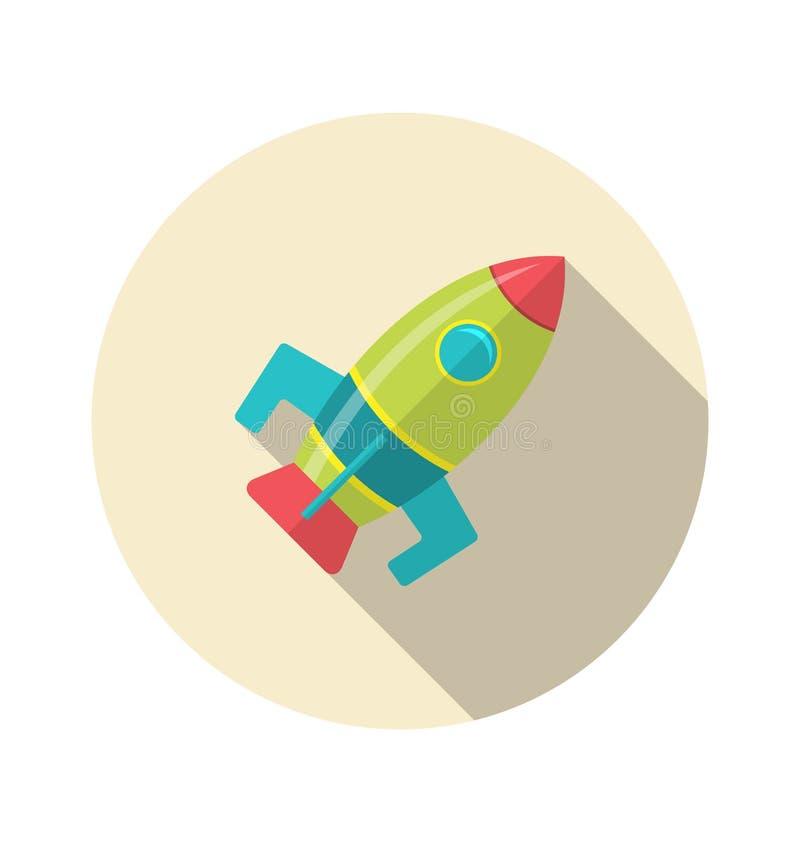 Icono plano del cohete con estilo largo de la sombra ilustración del vector
